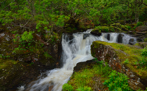 rzeka, wodospad, Rocks, drzew, charakter