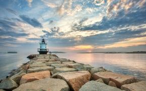 tramonto, mare, faro, paesaggio