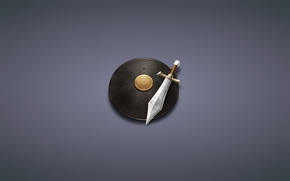 minimalism, dusky background, sword, shield