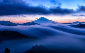 blau, Nebel, Spitze, Vulkan, Wolken, Sonnenuntergang, Schnee, Berg, Himmel