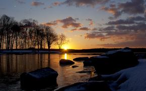trees, snow, DAWN, stones, sun, winter, lake, ice