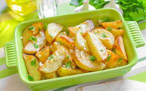 crockery, baked, food, potatoes, potato, parsley, garlic