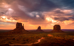 Monument Valley, sky, Rocks, USA, evening, Mountains, clouds