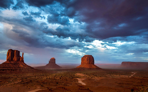 Monument Valley, USA, Mountains, evening, sky, clouds, Rocks