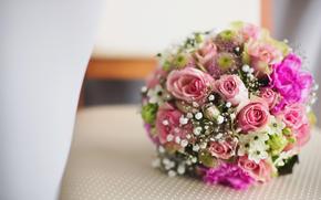 mariage, Fleurs, bouquet, Roses