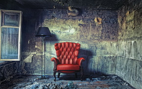 room, chair, window, red, lamp