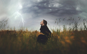 girl, element, squally wind, field, lightning