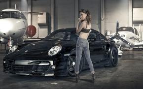 aircraft, Asian, jeans, hangar, girl, Porsche