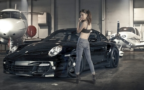 самолёты, азиатка, джинсы, ангар, девушка, Porsche