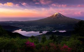富士山, стратовулкан, утро, Япония, остров Хонсю, Фудзияма, гора, первые лучи