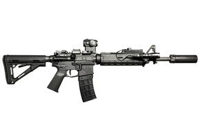 оружие, штурмовая винтовка, карабин, фон, фонарик