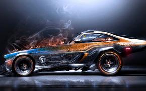 Sparks, smoke, Scratch, car