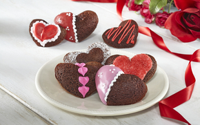 Flowers, love, bouquet, cookies, Roses, heart, holiday, food, cake, sweet