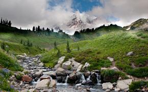 alberi, fiume, torrente, pietre, cielo, nuvole, acqua, Montagne, paesaggio, erba