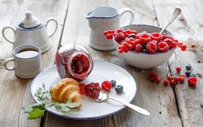 еда, черника, смородина, чай, варенье, ягоды, выпечка, рогалик, круассан, джем, малина, посуда, завтрак