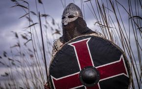 guerreiro, viking, capacete, correio, escudo, espada
