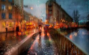 ombrello, ragazza, Peter, pioggia, autunno