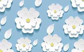 листики, текстура, фон, цветочки