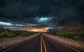 Texas, evening, CLOUDS, road, clouds, storm, USA, nature, asphalt