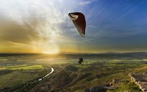 парапланеризм, пейзаж, закат, полеты на параплане, спорт