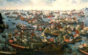 «Битва при Лепанто», мыс Скрофа, морское сражение, картина, Патрасский залив, между флотами Священной лиги и Османской империи, холст, масло