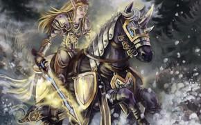 меч, арт, конь, лес, эльфийка, бег