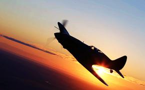 samolot, zachód słońca, skrzydełka, myśliwiec, lot, słońce, niebo, lotnictwo, krajobraz
