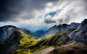долина, облака, горы, Швейцария