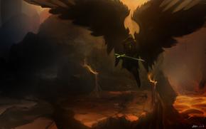 крылья, оружие, арт, фантастика, меч. скалы, ангел