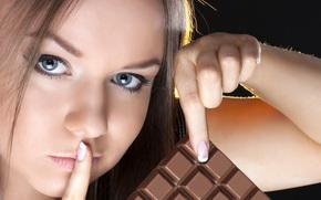 один, шоколадное, красивая, кусочек, настроение, говори, еще, и хорошее настроение не покинет больше нас., не, никому, девушка, жест