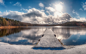 lago, ponte, foresta, alberi, autunno, paesaggio, panorama