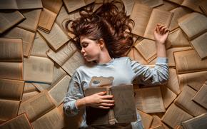 sueño, Libros, chica