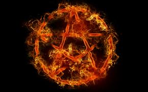fuoco, pentagramma, simbolo