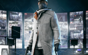 dressing, phone, Watchdogs, view, sweater, Aiden Pierce, weapon, suit, mobile, cap, cloak, gloves, Monitors