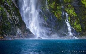 Rocks, waterfall, moss, nature, lake