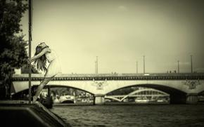платье, мост, река, танец, грация, девушка