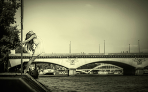 dress, bridge, river, dance, grace, girl