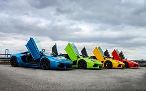 тучи, суперкар, Lamborghini, небо, цвет, двери