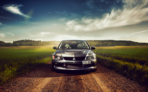 Mitsubishi, before, Lancer, Mitsubishi, nature, Metallic, field