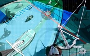 wind rose, vector, sailing, boat, Anchor, sail, abstraction, yacht, wallpaper