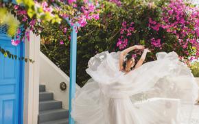 цветы, платье, невеста, девушка