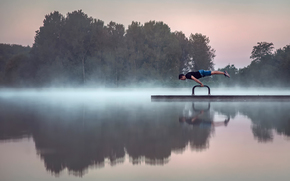 lake, Gymnast, morning