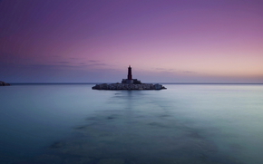 calm, ocean, sea, lighthouse, sky, lilac, evening