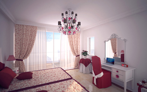 chandelier, room, window, Curtains, bed, notebook, mirror, BEDROOM, design, chair