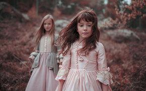 meninas, cabelo, floresta, Vestidos