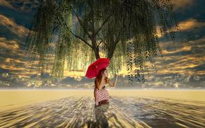 зонт, дерево, плакучая ива, арт, девочка