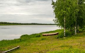 river, shore, boat, trees, landscape
