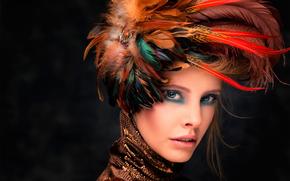 ретушь, макияж, головной убор, перья, портрет