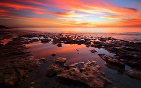 вечер, пляж, заря, камни, море