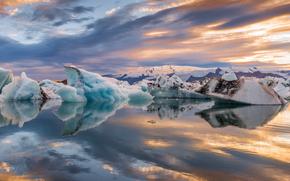 лед, ледники, облака, отражение, Исландия, лагуна, небо, закат, озеро, снег, вечер
